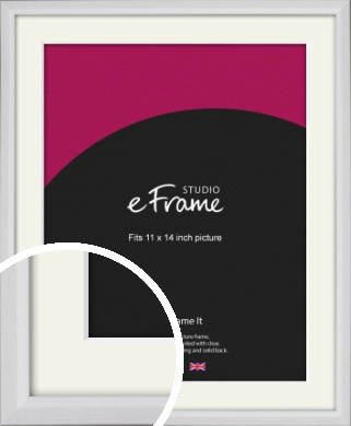 Narrow Bevelled Fresh White Picture Frame & Mount, 11x14