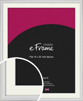 Narrow Bevelled Fresh White Picture Frame & Mount, 16x20