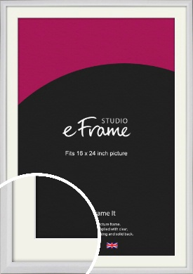 Narrow Bevelled Fresh White Picture Frame & Mount, 16x24