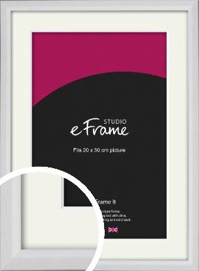 Narrow Bevelled Fresh White Picture Frame & Mount, 20x30cm (8x12