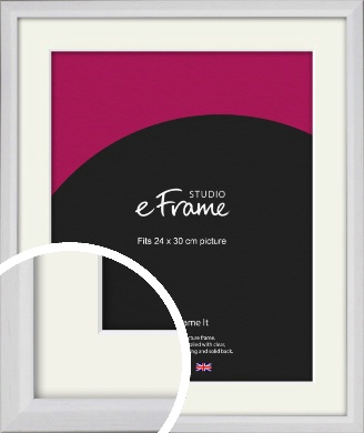 Narrow Bevelled Fresh White Picture Frame & Mount, 24x30cm (VRMP-1284-M-24x30cm)
