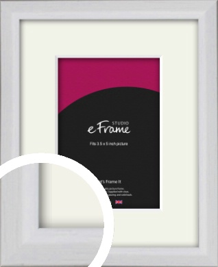 Narrow Bevelled Fresh White Picture Frame & Mount, 3.5x5