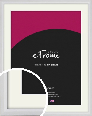 Narrow Bevelled Fresh White Picture Frame & Mount, 30x40cm (VRMP-1284-M-30x40cm)