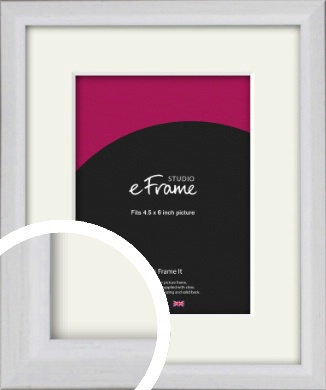 Narrow Bevelled Fresh White Picture Frame & Mount, 4.5x6