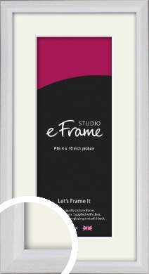 Narrow Bevelled Fresh White Picture Frame & Mount, 4x10