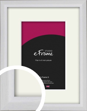 Narrow Bevelled Fresh White Picture Frame & Mount, 4x6