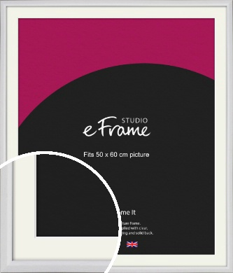 Narrow Bevelled Fresh White Picture Frame & Mount, 50x60cm (VRMP-1284-M-50x60cm)