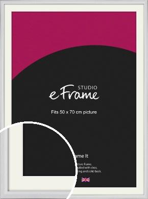 Narrow Bevelled Fresh White Picture Frame & Mount, 50x70cm (VRMP-1284-M-50x70cm)