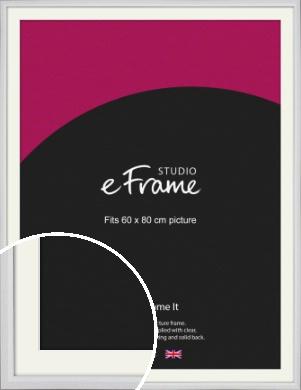 Narrow Bevelled Fresh White Picture Frame & Mount, 60x80cm (VRMP-1284-M-60x80cm)