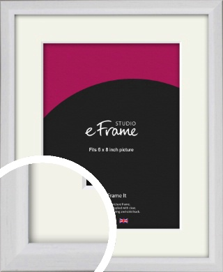 Narrow Bevelled Fresh White Picture Frame & Mount, 6x8