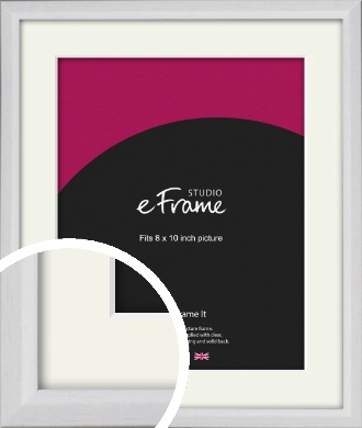 Narrow Bevelled Fresh White Picture Frame & Mount, 8x10