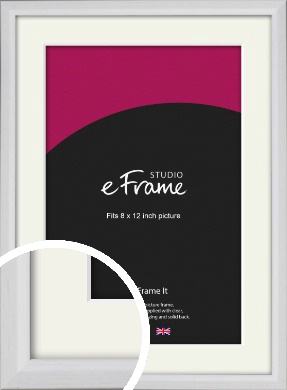 Narrow Bevelled Fresh White Picture Frame & Mount, 8x12