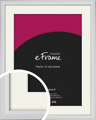 Narrow Bevelled Fresh White Picture Frame & Mount, 9x12