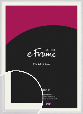 Narrow Bevelled Fresh White Picture Frame & Mount, A1 (594x841mm) (VRMP-1284-M-A1)