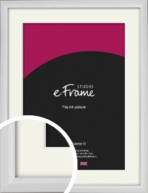 Narrow Bevelled Fresh White Picture Frame & Mount, A4 (210x297mm) (VRMP-1284-M-A4)