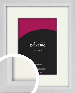 Narrow Bevelled Fresh White Picture Frame & Mount, A6 (105x148mm) (VRMP-1284-M-A6)