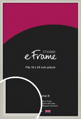 Narrow Chamfered Faded Cream Picture Frame, 16x24
