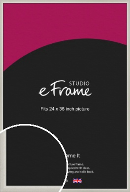 Narrow Chamfered Faded Cream Picture Frame, 24x36
