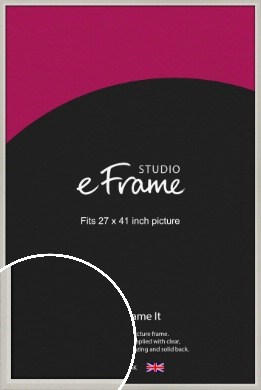 Narrow Chamfered Faded Cream Picture Frame, 27x41