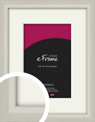 Narrow Chamfered Faded Cream Picture Frame & Mount, 10x15cm (4x6