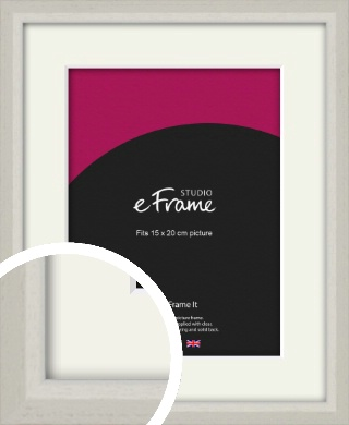 Narrow Chamfered Faded Cream Picture Frame & Mount, 15x20cm (6x8