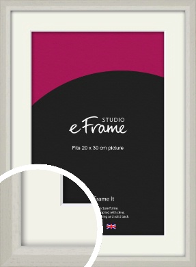 Narrow Chamfered Faded Cream Picture Frame & Mount, 20x30cm (8x12
