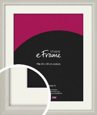 Narrow Chamfered Faded Cream Picture Frame & Mount, 24x30cm (VRMP-1285-M-24x30cm)