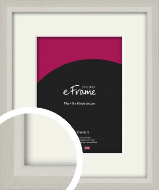 Narrow Chamfered Faded Cream Picture Frame & Mount, 4.5x6
