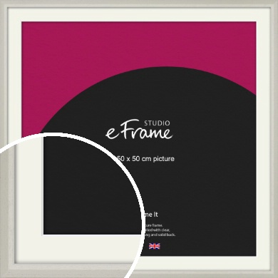 Narrow Chamfered Faded Cream Picture Frame & Mount, 50x50cm (VRMP-1285-M-50x50cm)