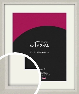 Narrow Chamfered Faded Cream Picture Frame & Mount, 8x10