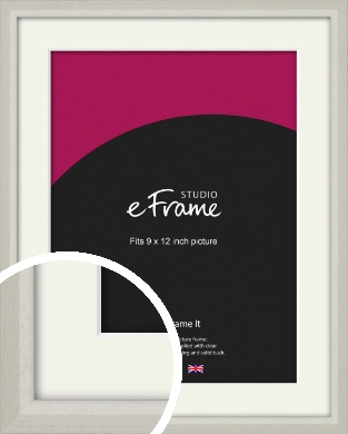 Narrow Chamfered Faded Cream Picture Frame & Mount, 9x12