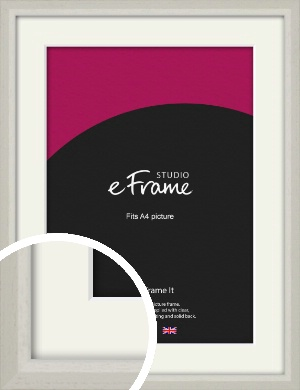 Narrow Chamfered Faded Cream Picture Frame & Mount, A4 (210x297mm) (VRMP-1285-M-A4)