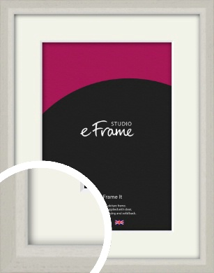 Narrow Chamfered Faded Cream Picture Frame & Mount (VRMP-1285-M)