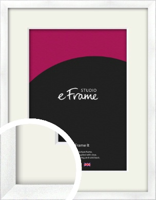 Squared Frosted Silver Picture Frame & Mount (VRMP-A065-M)