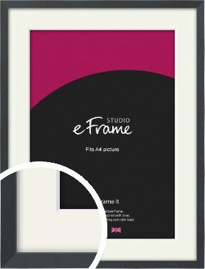 Slender Rectangular Black Picture Frame & Mount, A4 (210x297mm) (VRMP-A066-M-A4)