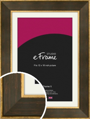 Gold & Chestnut Brown Picture Frame & Mount, 12x18