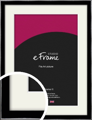 Chamfered Obsidian Black Picture Frame & Mount, A4 (210x297mm) (VRMP-A062-M-A4)