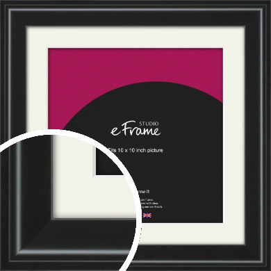 Raised Outer Edge Smooth Black Picture Frame & Mount, 10x10
