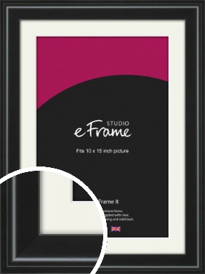 Raised Outer Edge Smooth Black Picture Frame & Mount, 10x15