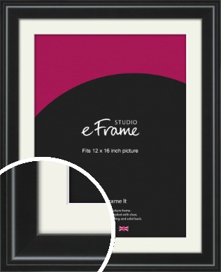 Raised Outer Edge Smooth Black Picture Frame & Mount, 12x16
