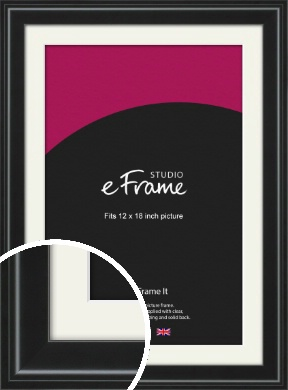 Raised Outer Edge Smooth Black Picture Frame & Mount, 12x18