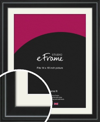 Raised Outer Edge Smooth Black Picture Frame & Mount, 14x18