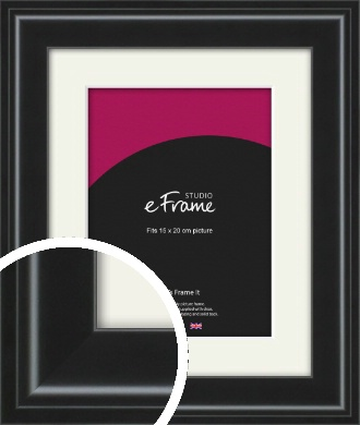 Raised Outer Edge Smooth Black Picture Frame & Mount, 15x20cm (6x8