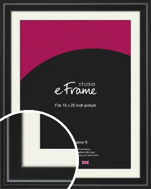 Raised Outer Edge Smooth Black Picture Frame & Mount, 15x20