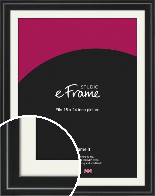 Raised Outer Edge Smooth Black Picture Frame & Mount, 18x24