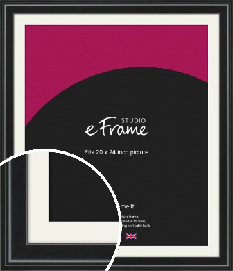 Raised Outer Edge Smooth Black Picture Frame & Mount, 20x24