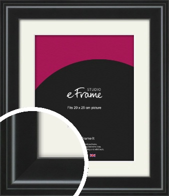 Raised Outer Edge Smooth Black Picture Frame & Mount, 20x25cm (8x10