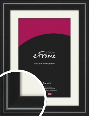 Raised Outer Edge Smooth Black Picture Frame & Mount, 20x30cm (8x12