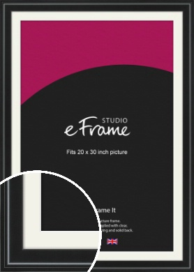 Raised Outer Edge Smooth Black Picture Frame & Mount, 20x30