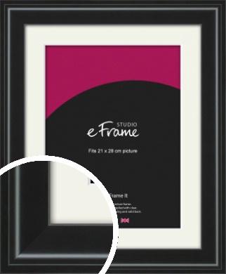 Raised Outer Edge Smooth Black Picture Frame & Mount, 21x28cm (VRMP-1298-M-21x28cm)
